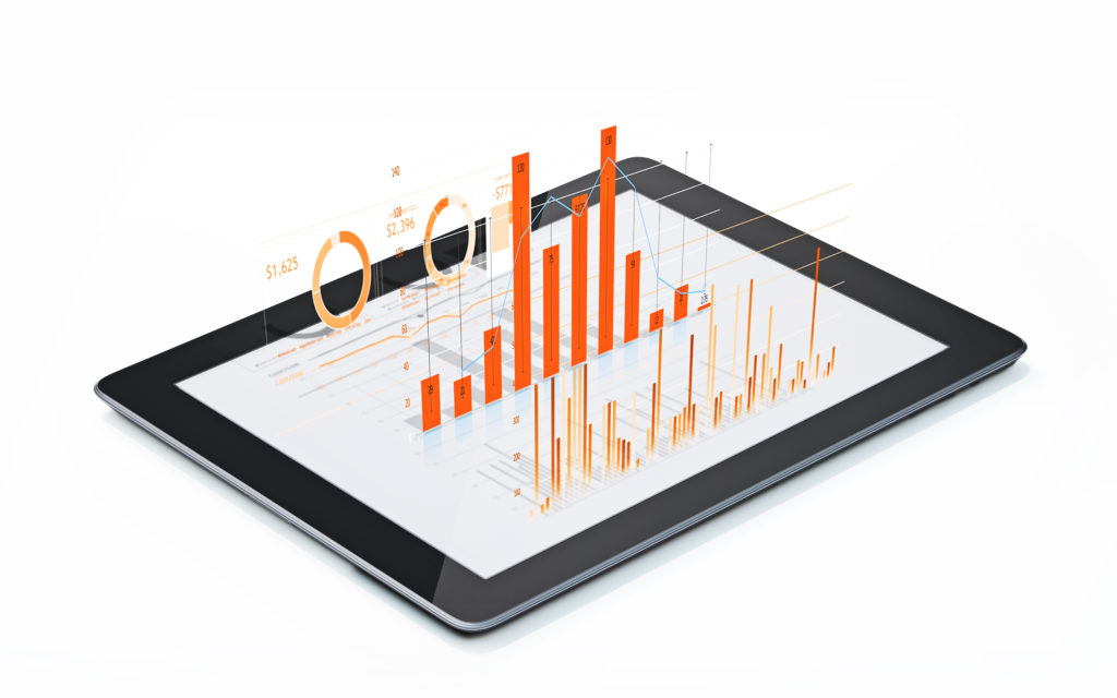 Orange colored financial diagrams and charts are being projected from a digital tablet. Horizontal composition with copy space. Isolated on white background. Financial and scientific analysis concept.